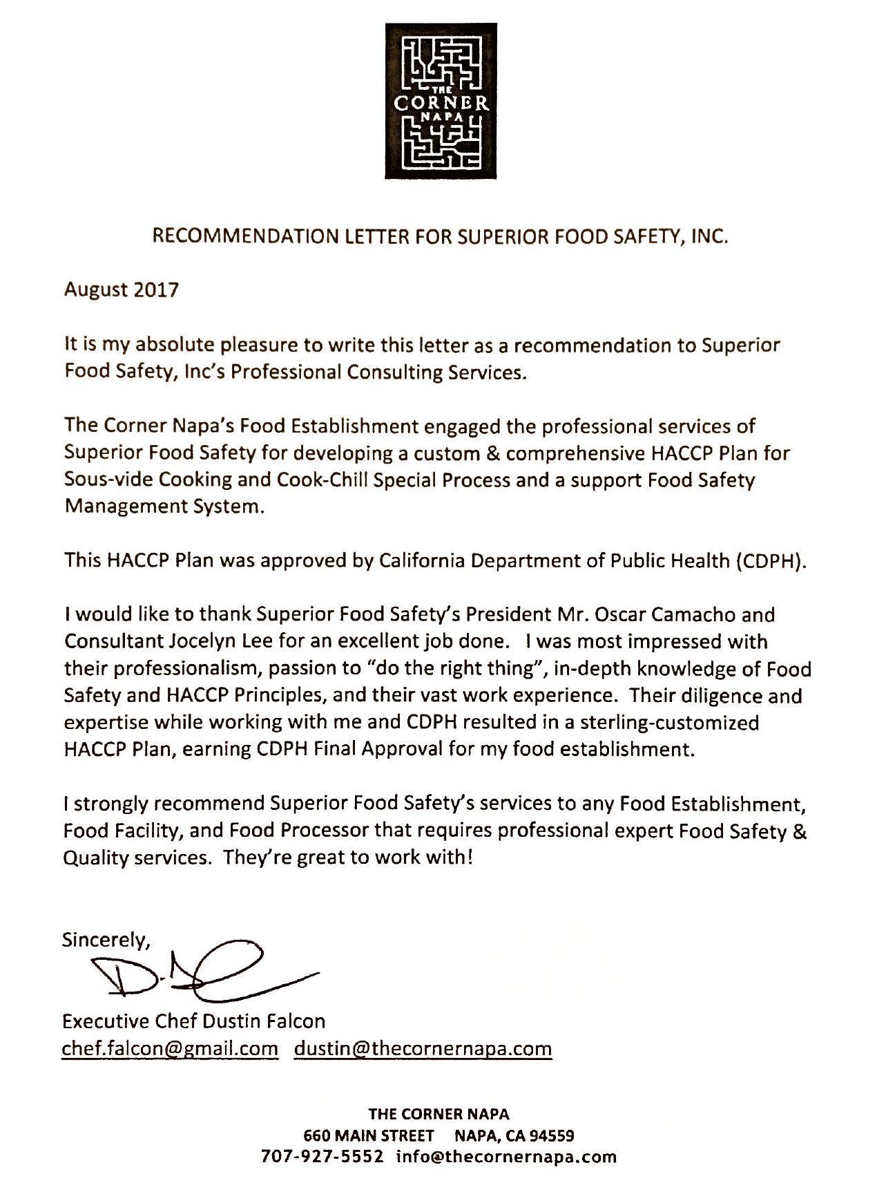 Testimonials Superior Food Safety Napa Ca